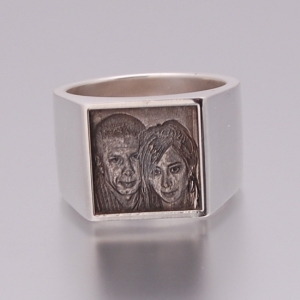 Mens square picture ring